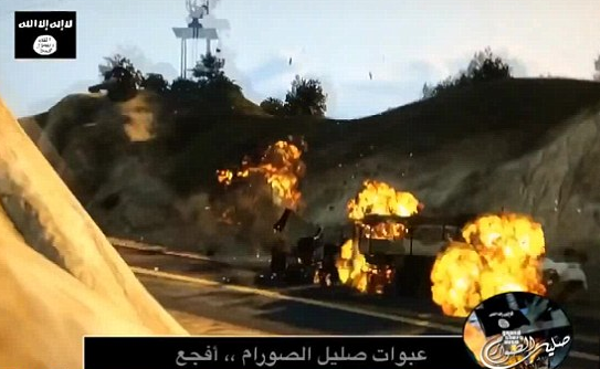 Entitled 'Grand Theft Auto: Salil al-Sawarem,' the game shows the player shooting police and blowing up military convoys.