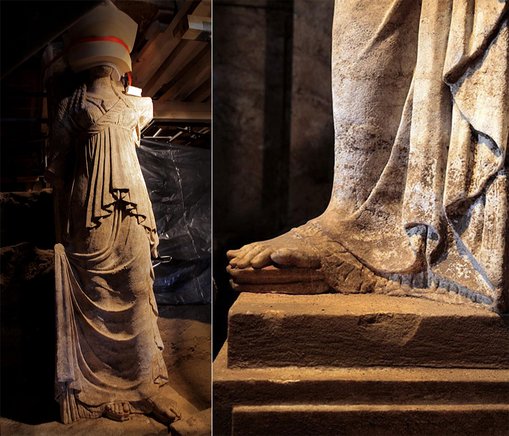 Amphipolis tomb discovery - 7 foot caryatid statues uncovered