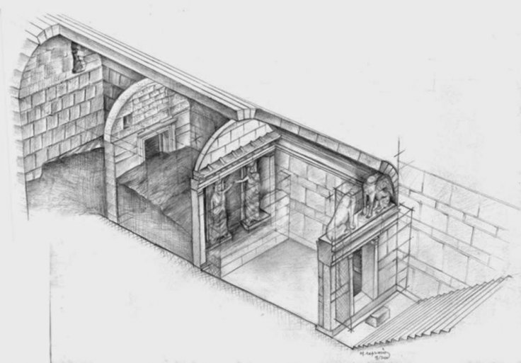 The most recent artist's diagram of the Amphipolis tomb layout