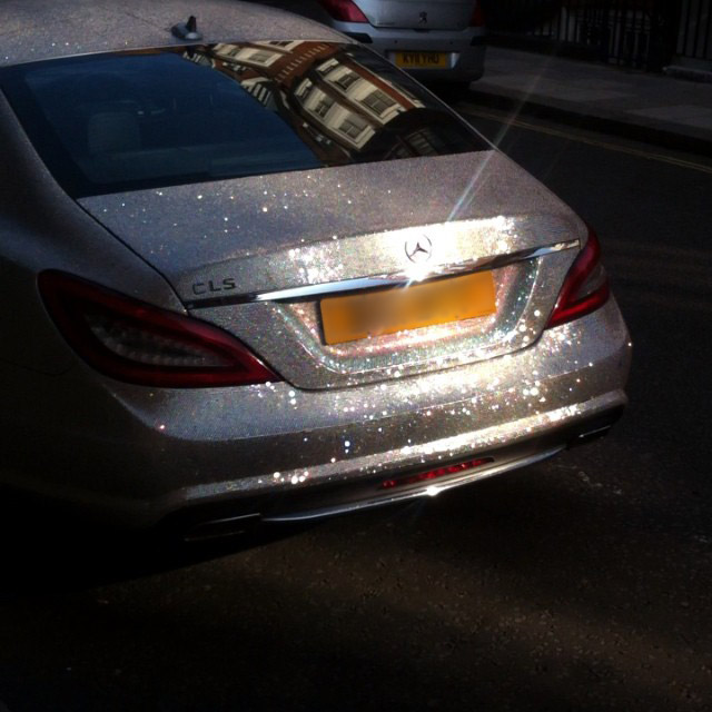 crystal-covered Mercedes