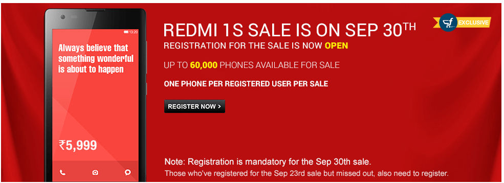 Xiaomi Reportedly Sells 60,000 Redmi 1S Smartphones in just 5.2 Seconds in Fourth Flash Sale: Registrations for Fifth Flash Sale Now Open