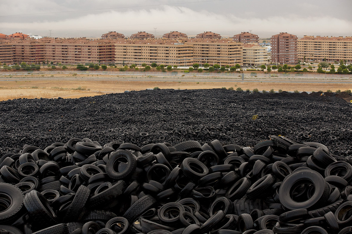 millions of tyres dumped near Sesena, a ghost town in Spain