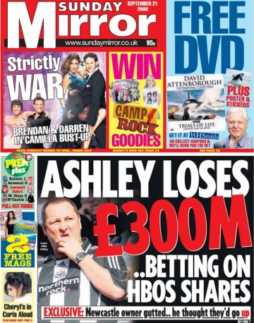 Sunday Mirror Front Cover on 21 September 2008