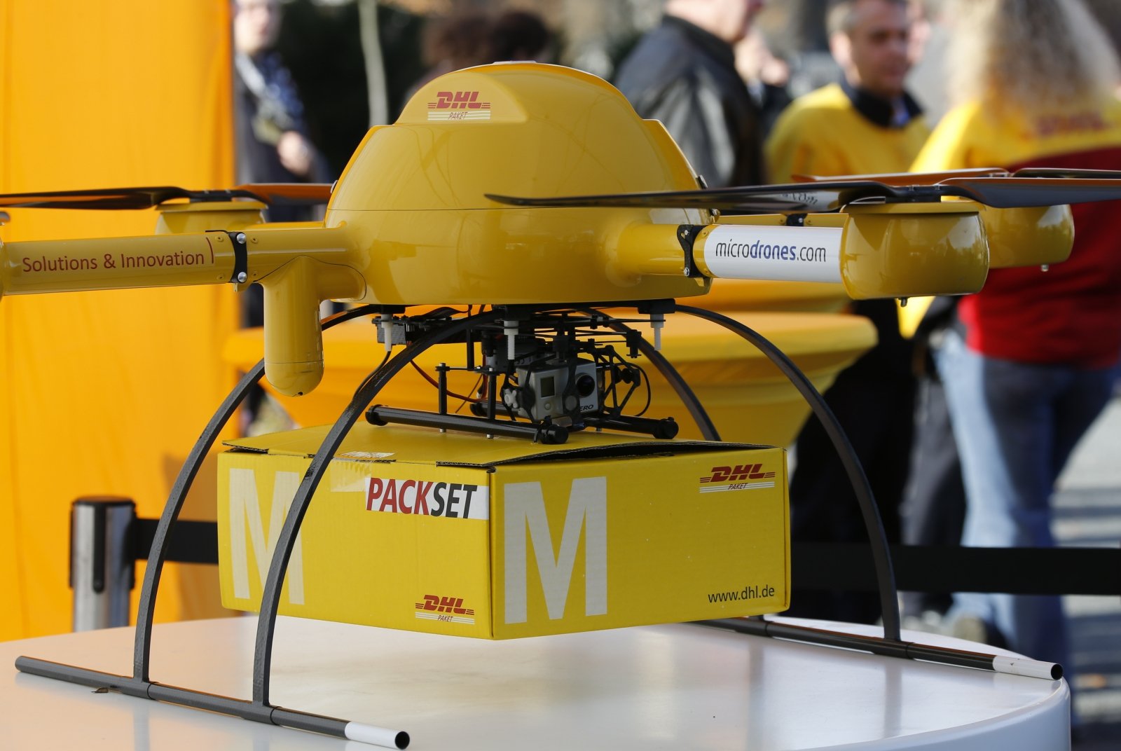 DHL\'s Paketkopter drone - a new month-long trial will see the drone being flown over 7.5 miles to deliver medication to a remote German island