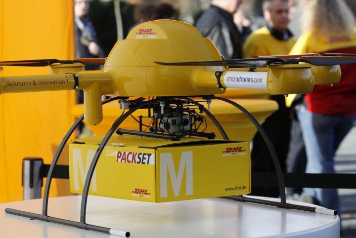 DHL's Paketkopter drone - a new month-long trial will see the drone being flown over 7.5 miles to deliver medication to a remote German island
