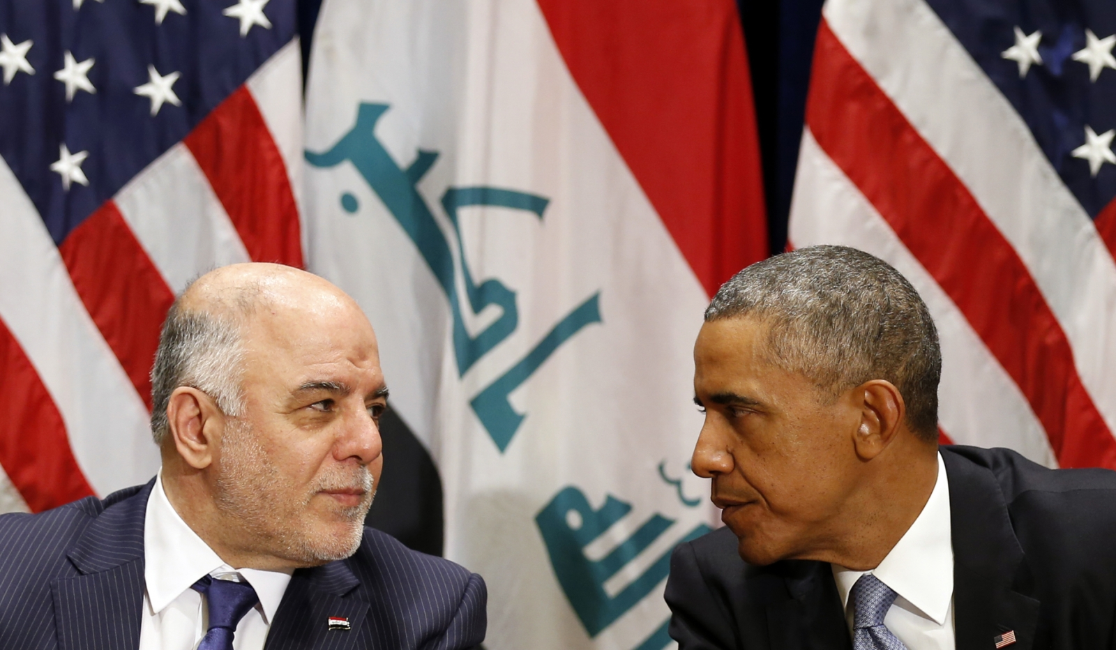 U.S. President Barack Obama meets with Iraqi Prime Minister Haider al-Abadi during the United Nations General Assembly in New York