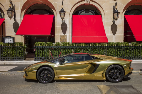 The Most Expensive Car In The World >> £4 Million Gold Lamborghini Spotted in Paris
