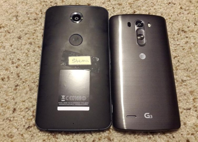 Motorola's Google Nexus 6 photographed next to LG's G3