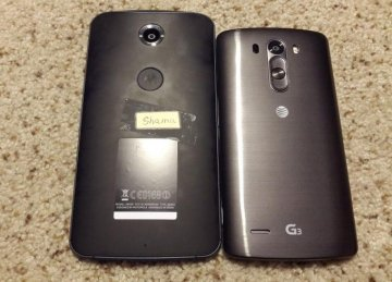 Motorola Shamu / Nexus X photographed next to LG's G3