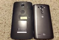 Motorola\'s Google Nexus 6 photographed next to LG\'s G3