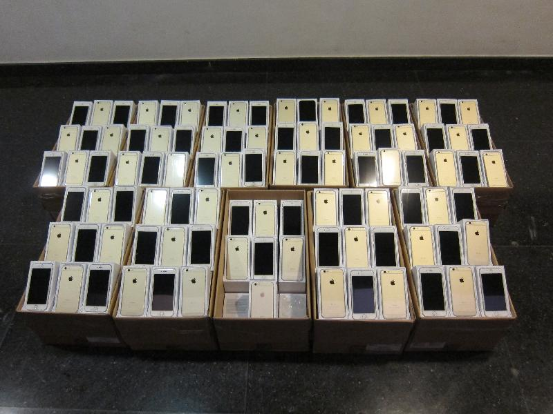 Some of the seized suspected smuggled mobile phones of the latest model.