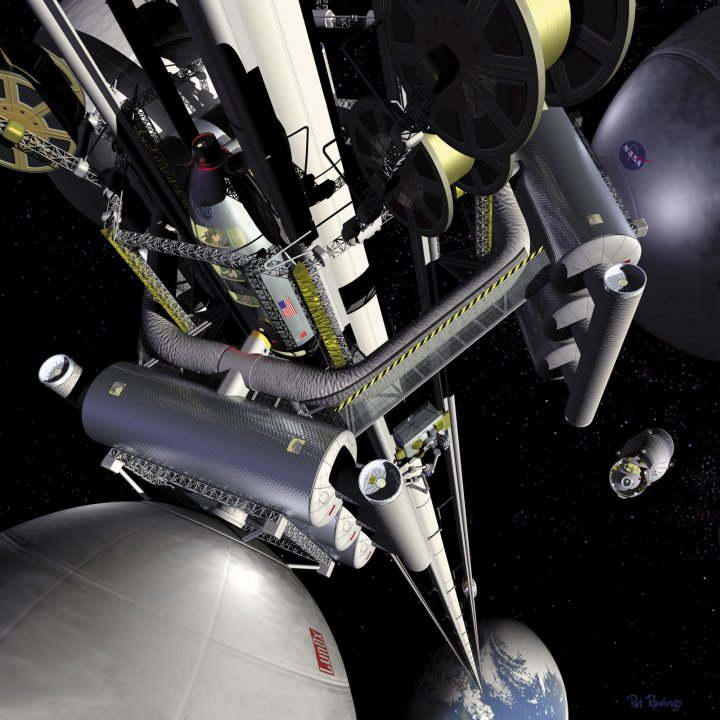 An artist's concept illustration for a space elevator
