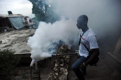 Health worker, Port-au-Prince, Haiti, fumigates for mosquitos