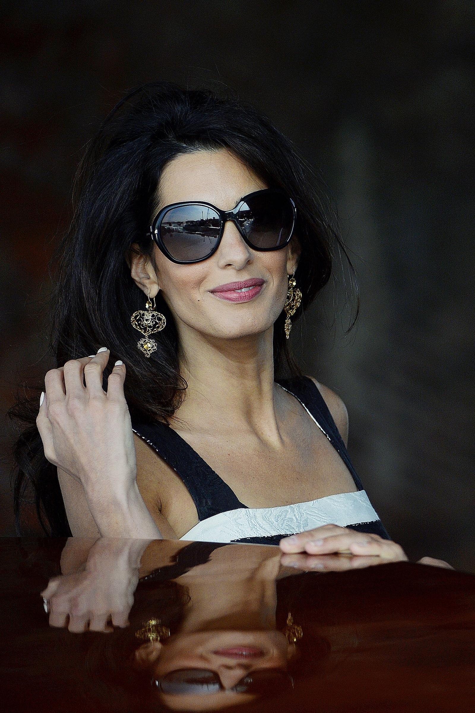 George Clooney's Lebanon-born British fiancee Amal Alamuddin arrives in Venice