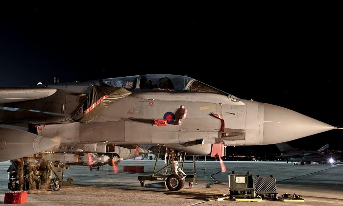 Two Tornado GR4 jets took off from a British military base in Cyprus to commence the UK's campaign against Isis in Iraq.