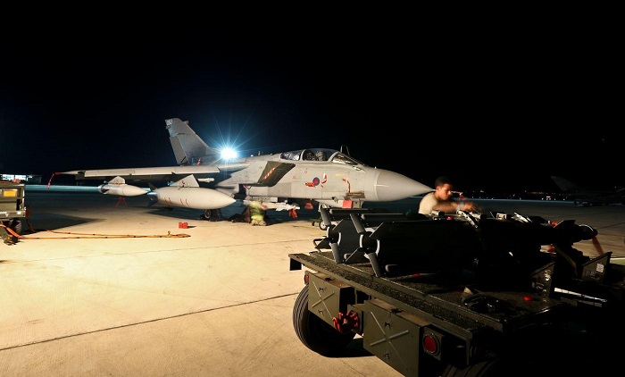 Britain's RAF Tornado GR4 bombers returned to their military base on Saturday after a reconnaissance mission in Iraq