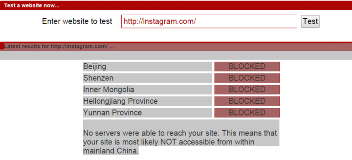 Instagram blocked in China