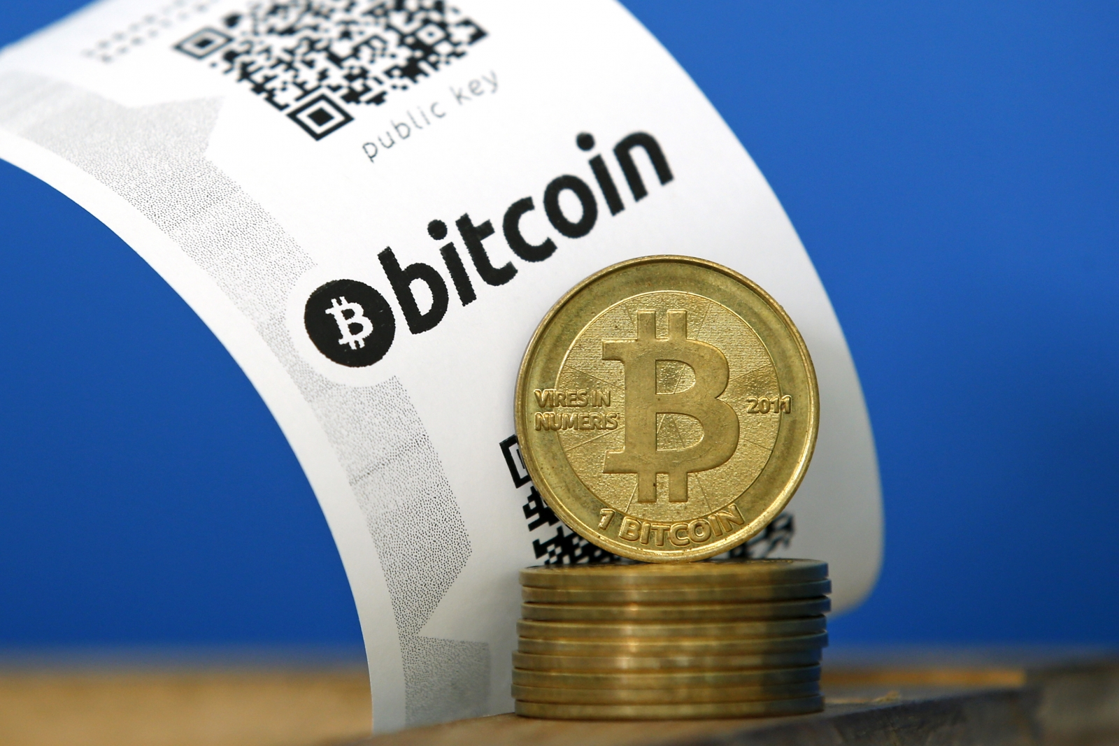 Bitcoin (virtual currency cryptocurrency) paper wallet with QR codes and coins