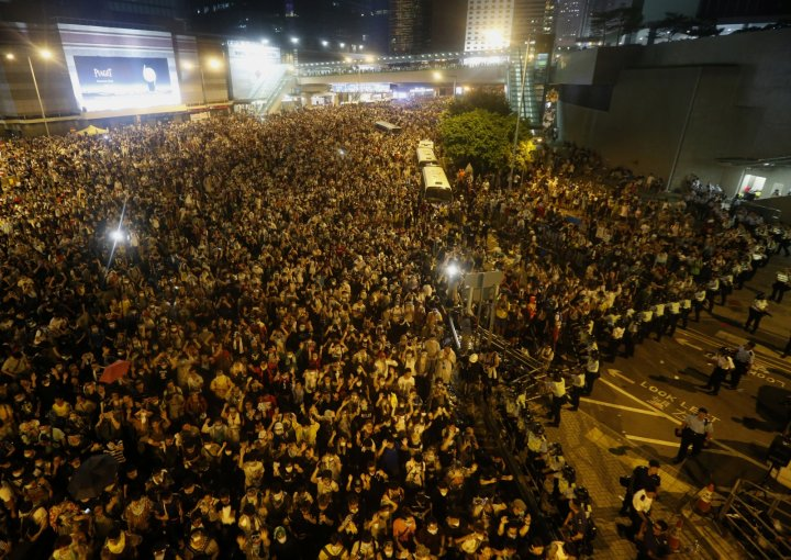 Overhead photos show the vast scale of 6 million protesters bringing downtown Hong Kong to a standstill