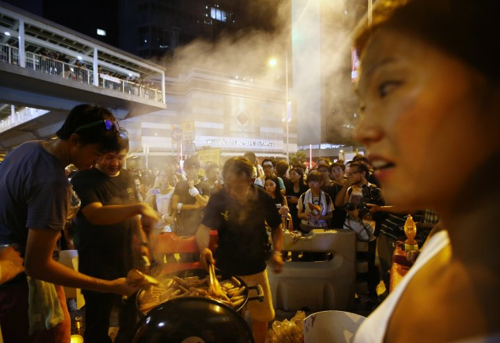 Hong Kong pro-democracy protestors remain on the streets despite a heavy police presence