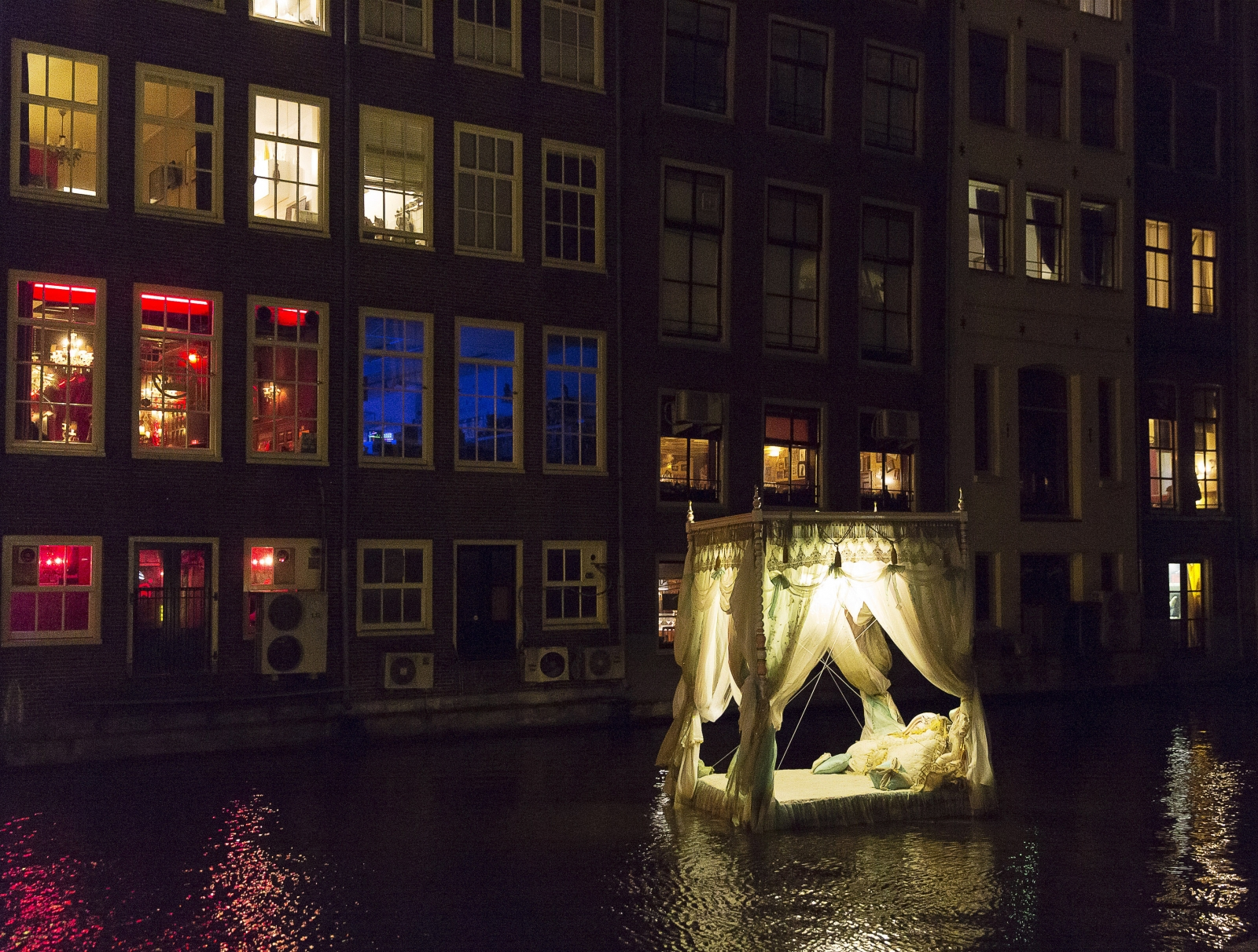 """""""Pas Encore Mon Histoire"""" by Vincent Olinet from France is pictured in the Red Light District as part of the Amsterdam Light Festival in Amsterdam December 6, 2013"""