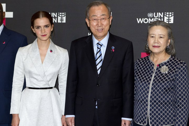 Actress Emma Watson (L), United Nations Secretary General Ban Ki-moon and his wife Yoo Soon-taek pose for a photo during a photo opportunity promoting the HeForShe campaign in New York September 20, 2014