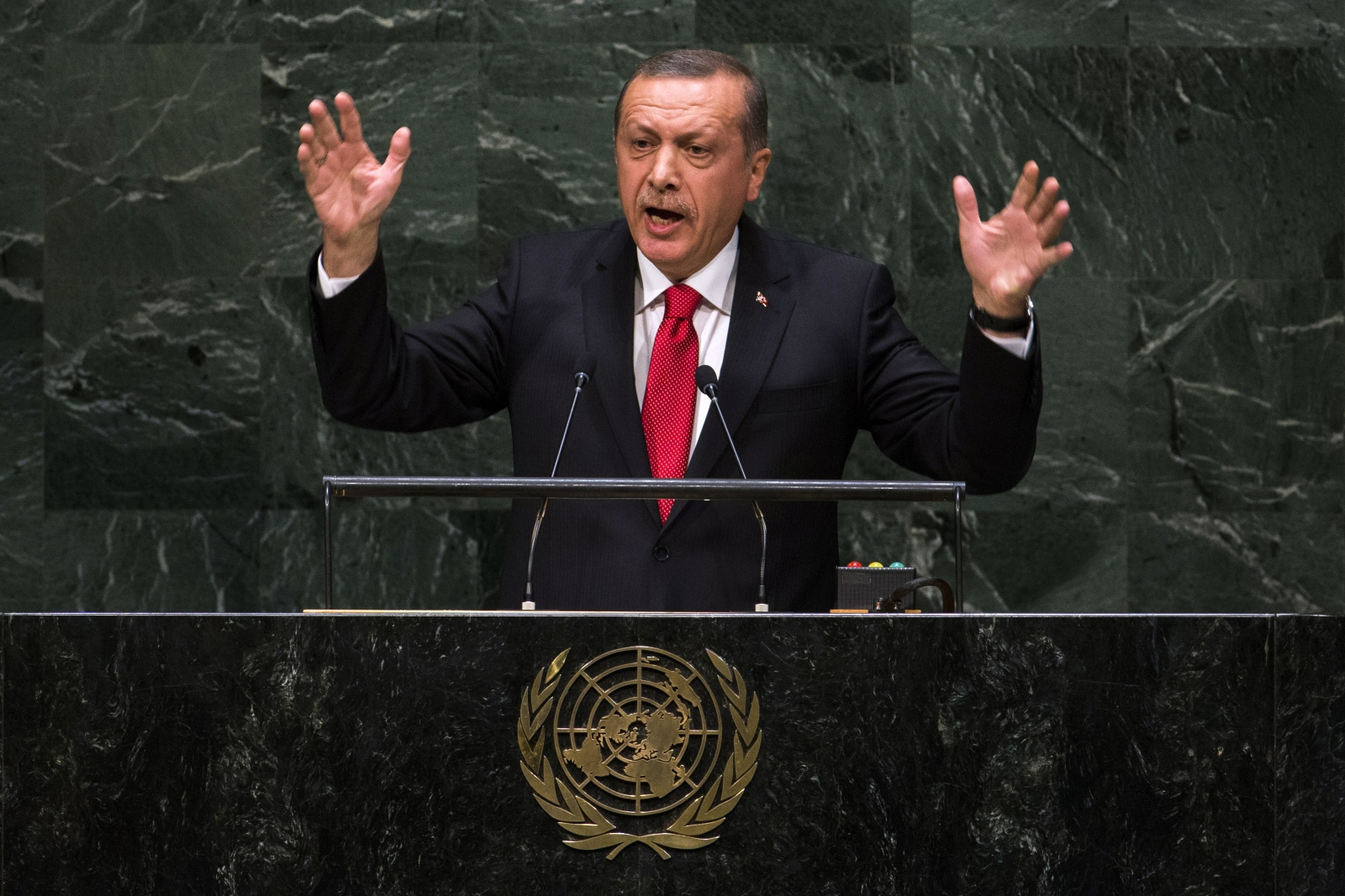 Turkey's President Recep Tayyip Erdogan addresses the 69th United Nations General Assembly at the UN headquarters in New York