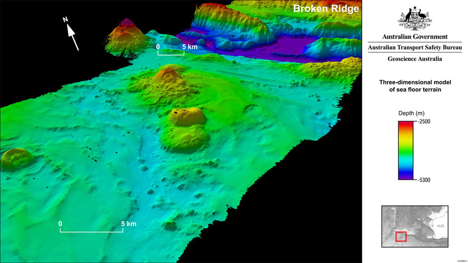 Three-dimensional maps of the southern Indian Ocean floor where search continues for Flight MH370