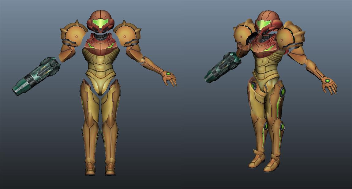 3D model of Samus Aran's armour in Maya