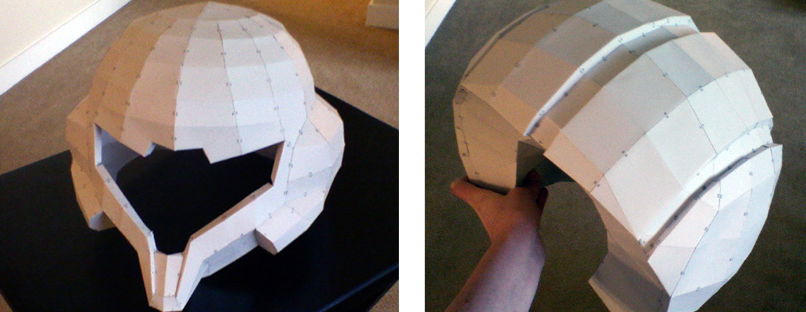 Using pepakura, a type of paper card modelling, to print out helmet and armour parts