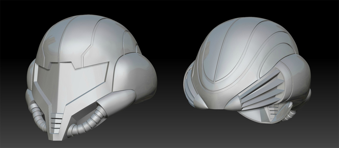 The 3D model of the helmet, created in Maya and refined in ZBrush