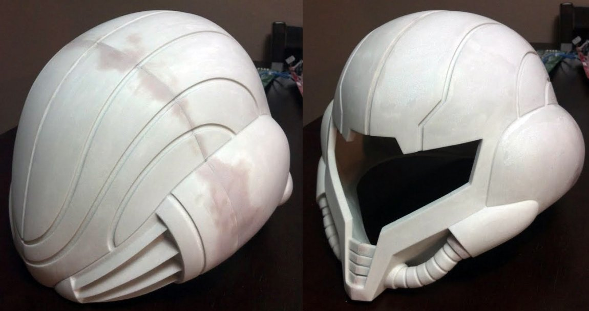 Gluing the pieces of 3D-printed helmet together