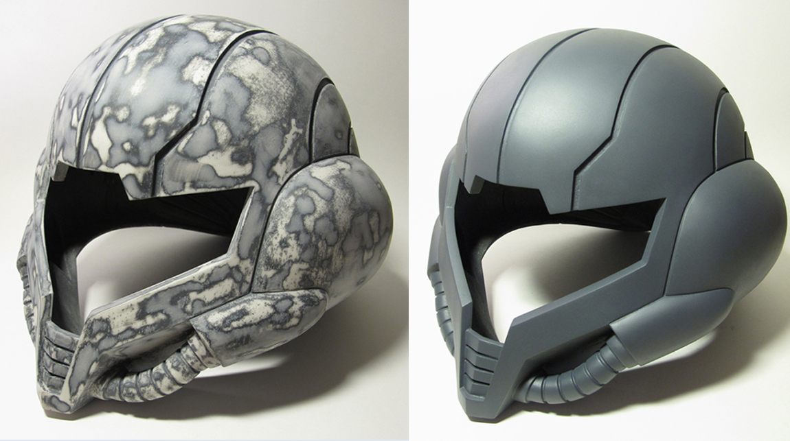 Priming, sanding and spray painting the helmet, which will later be covered in automobile paint as a finishing touch