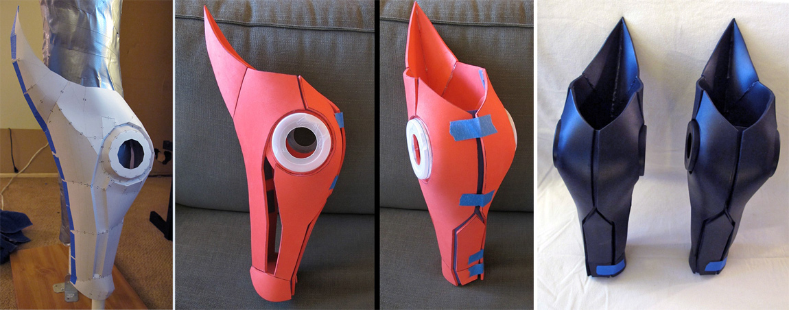 Shin guards: From pepakura, to craft foam, to worbla and foam with primer and car paint