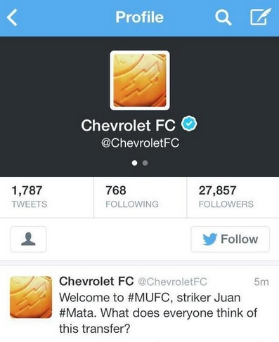 Chevrolet Juan Mata tweet