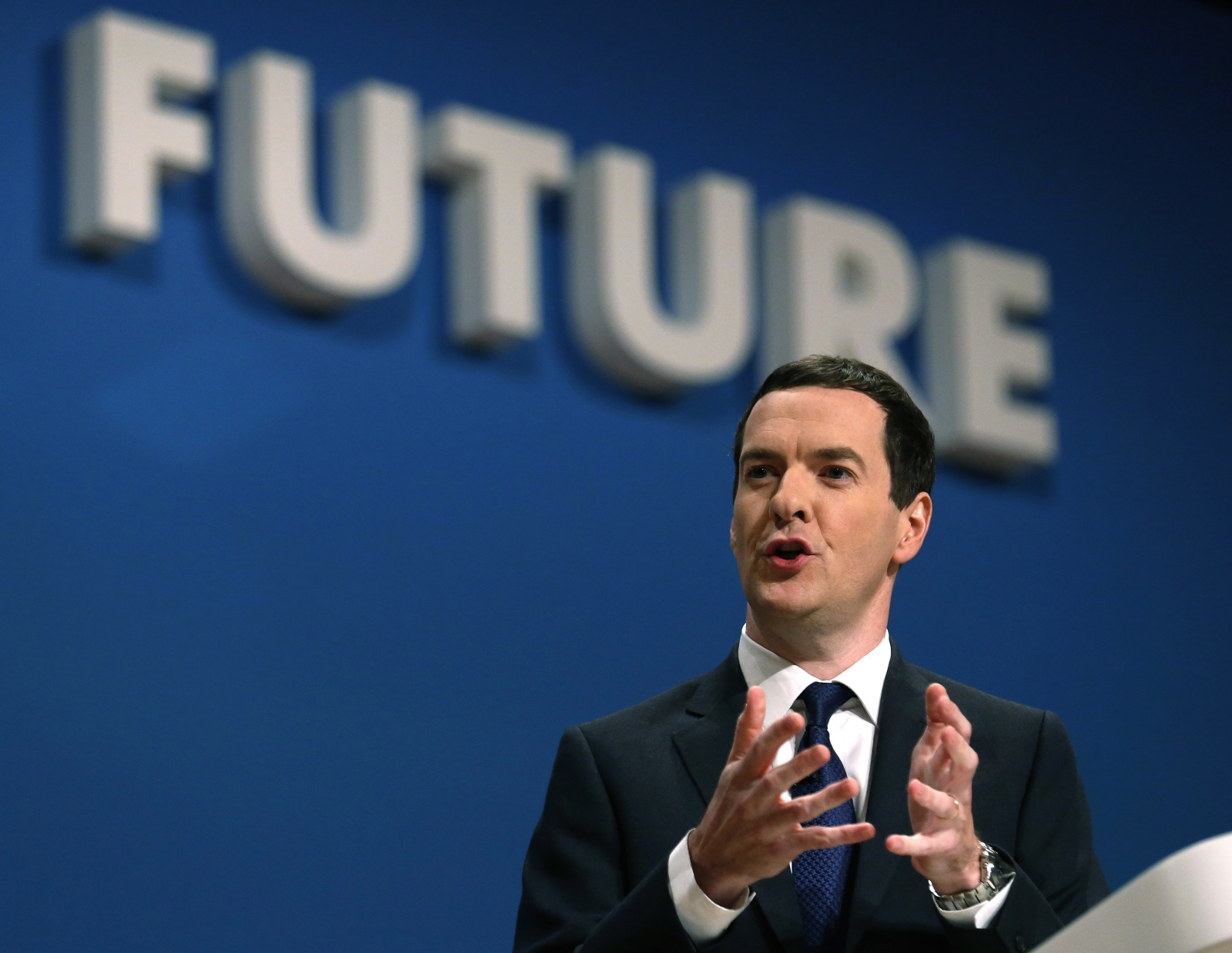 Britain's Chancellor George Osborne speaks on the second day of the Conservative Party Conference in Birmingham central England September 29, 2014