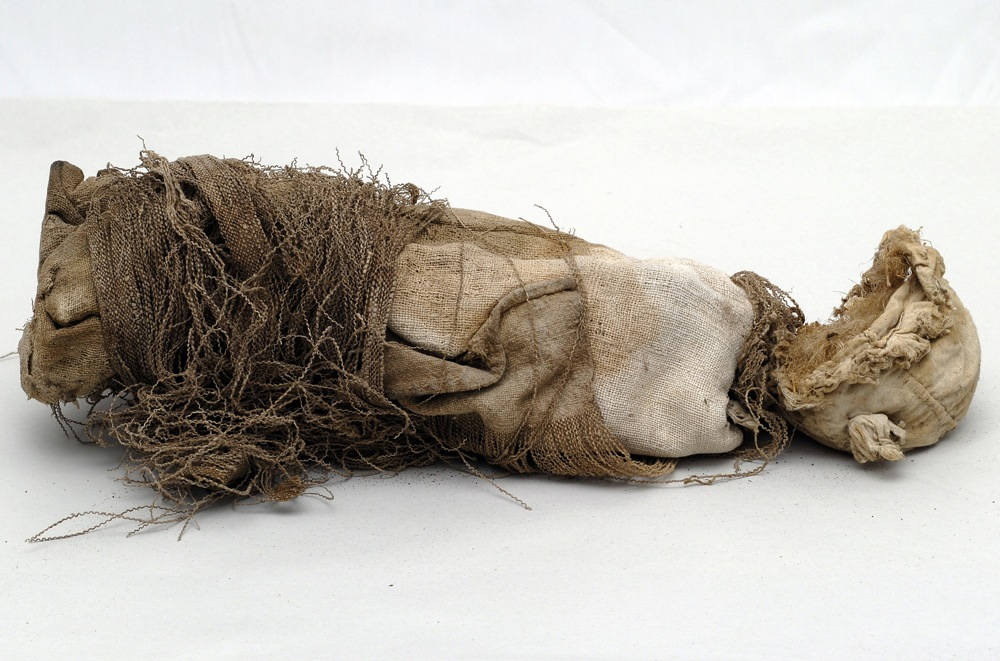 A mummified foetus found beneath the St. John the Evangelist church in the village of Casentino, L'Aquila
