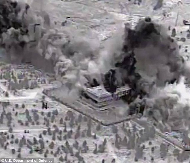 A US air strike on a position in Syria. Khorasan targets are believed to have escaped. (US State Department)