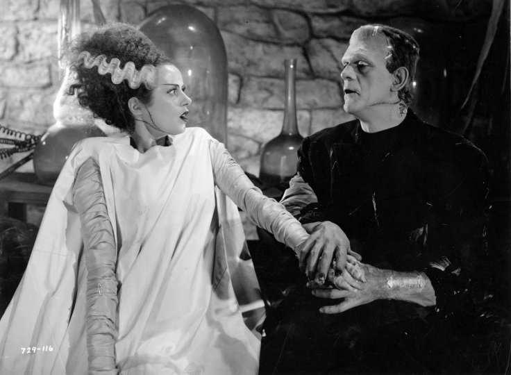 Film still of Elsa Lanchester and Boris Karloff in The Bride of Frankenstein, 1939 © Universal / The Kobal Collection