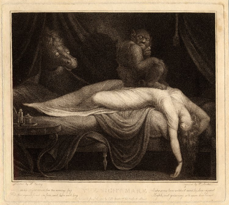 The Nightmare, after Henry Fuseli. Print made by Thomas Burke. London, 1783.