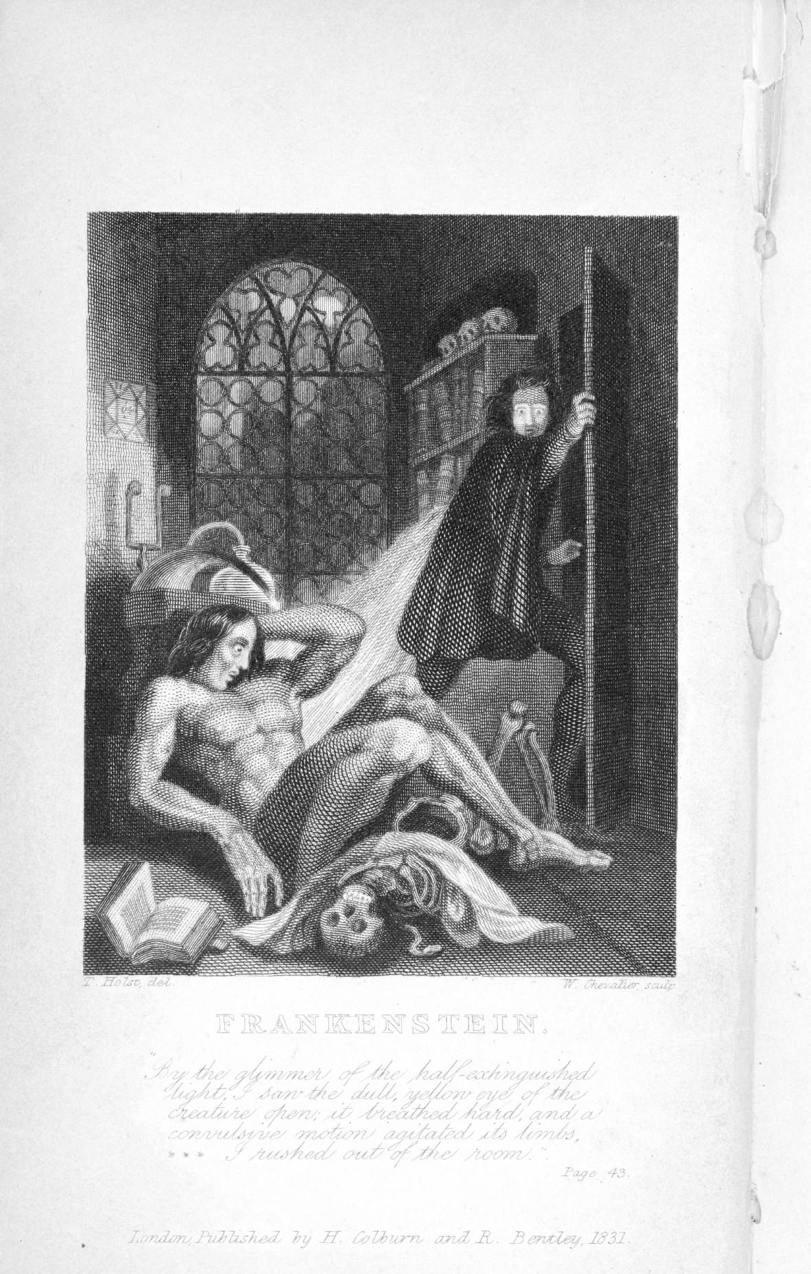 First illustration of Frankenstein's monster. Mary Shelley, Frankenstein, or, The Modern Prometheus. London, 1831.