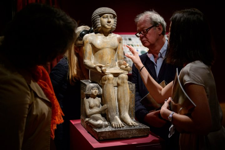 The Northampton Sekhemka on display at Christie's auction house in central London in June,before it was sold for a record £15.76m