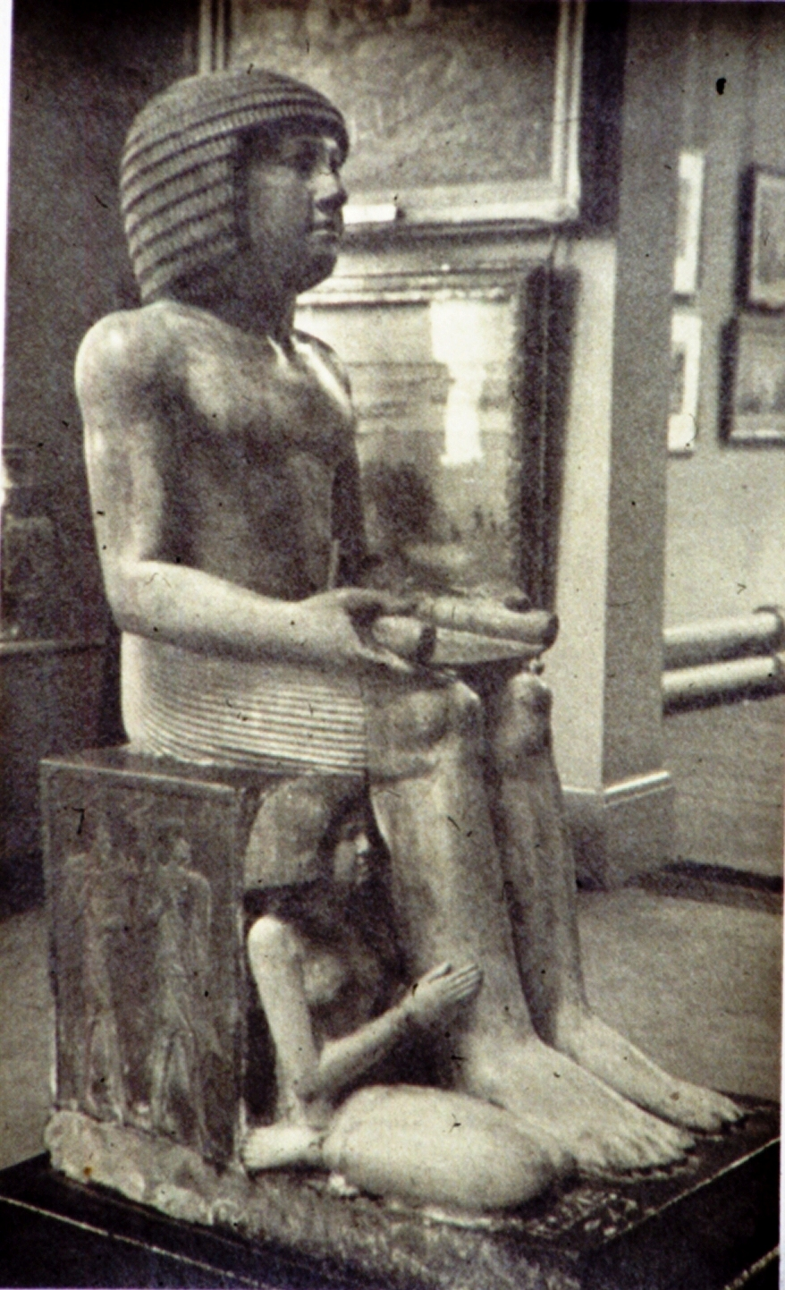 The Sekhemka Stature on display at the Northampton Museum and Art Gallery in the 1950s