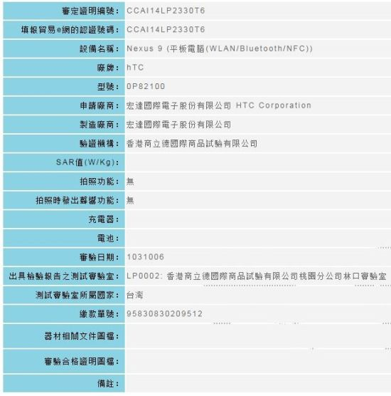 HTC Nexus 9 Passes Taiwan's NCC After US FCC