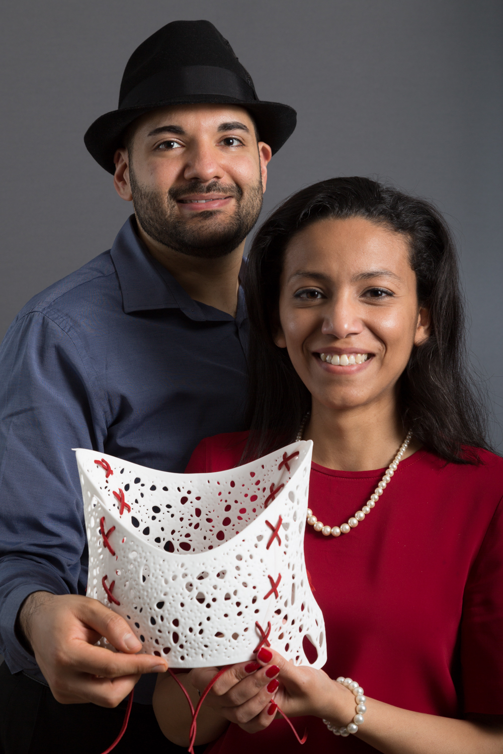 Andiamo founders Naveed and Samiya Parvez with a 3D-printed back brace