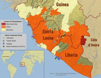 2014 Ebola Outbreak in West Africa - Outbreak Distribution Map