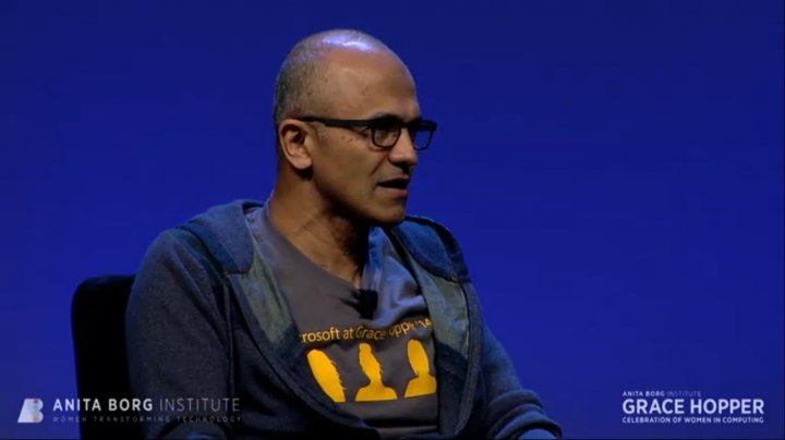Nadella speaks during the Grace Hopper Celebration of Women in Computing