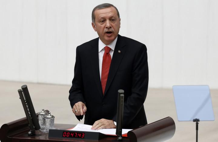 Turkey's President Tayyip Erdogan addresses the Turkish Parliament