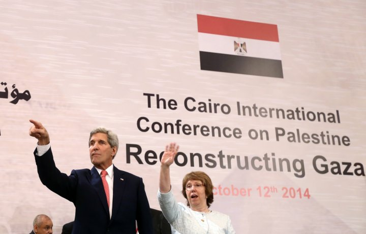 U.S. Secretary of State John Kerry and EU Foreign Policy Chief Catherine Ashton attend the Gaza international donors conference in Cairo
