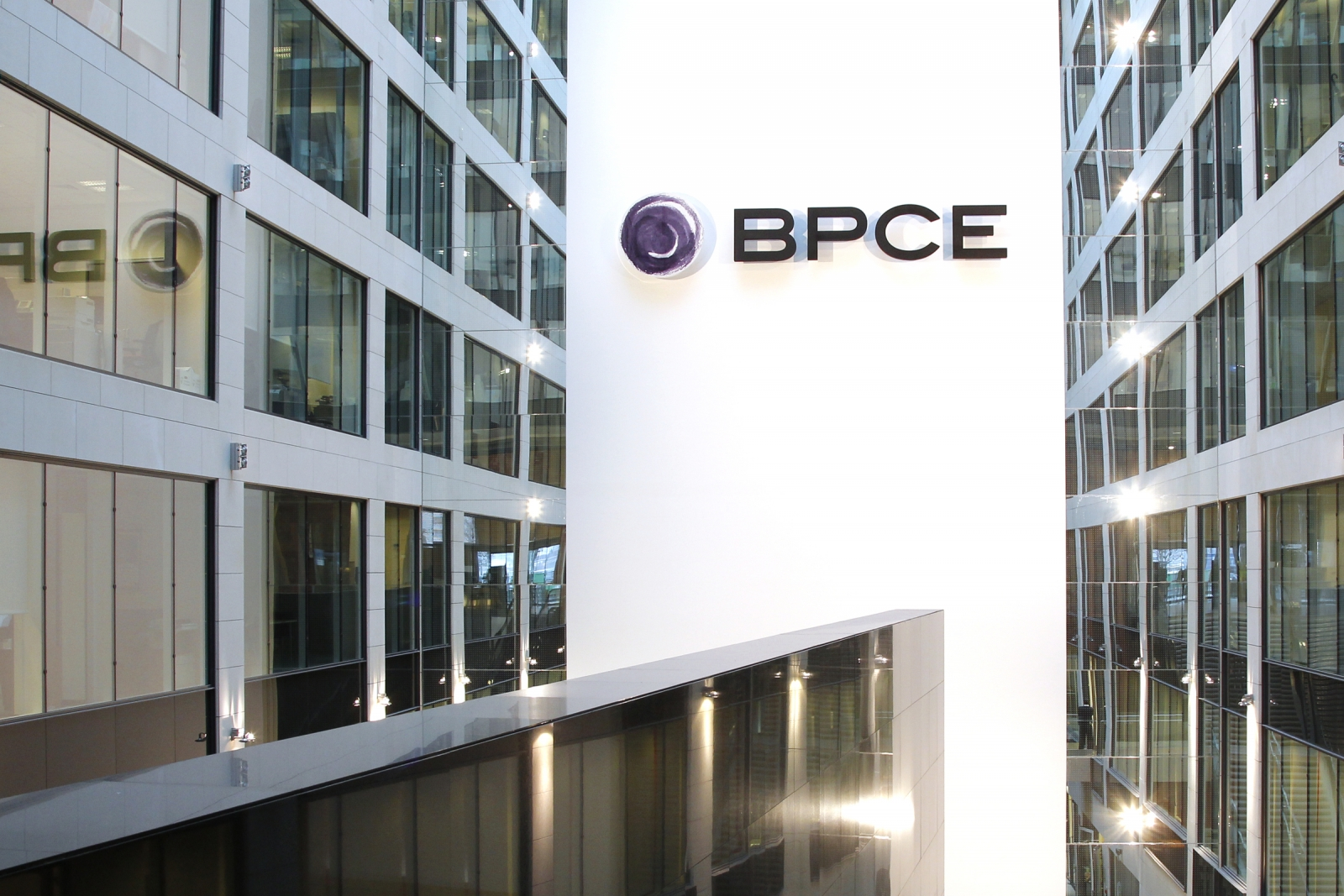 View of the BPCE banking group headquarters during the company's 2011 annual results presentation in Paris